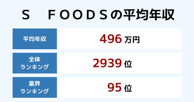 S FOODSの平均年収
