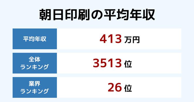 朝日印刷の平均年収