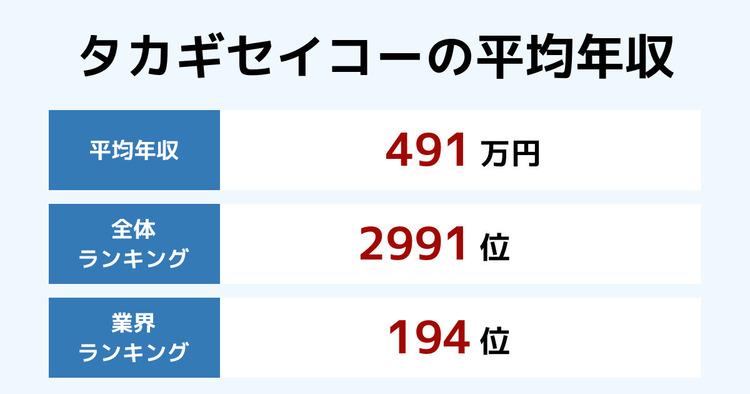 タカギセイコーの平均年収